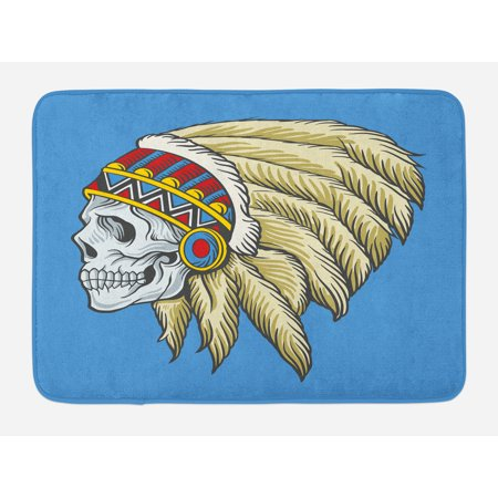 Tribal Bath Mat, Native American Dead Skull with Feathers Tattoo Folk Aztec Pattern, Non-Slip Plush Mat Bathroom Kitchen Laundry Room Decor, 29.5 X 17.5 Inches, Violet Blue Cream Pearl, Ambesonne (Centerpieces With Feathers And Pearls)