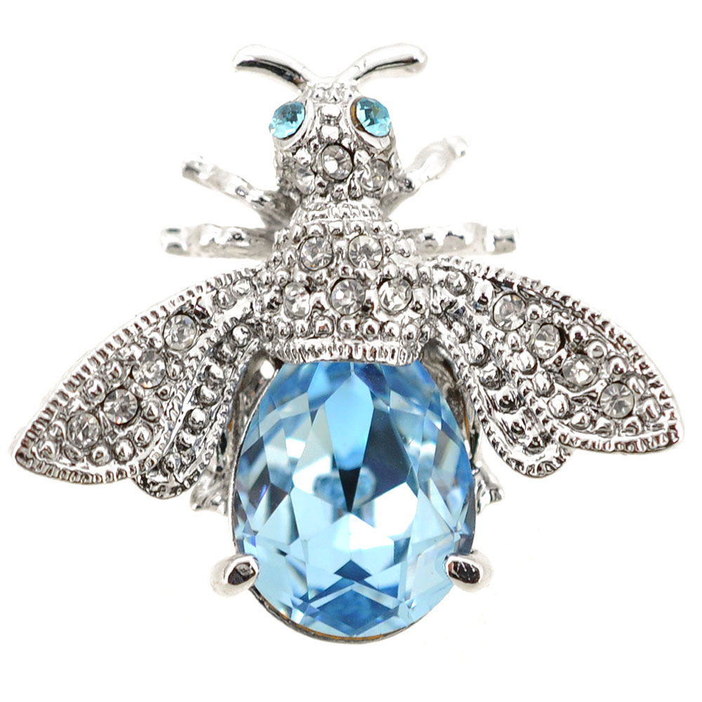Light Sapphire Crystal Bee Brooch by