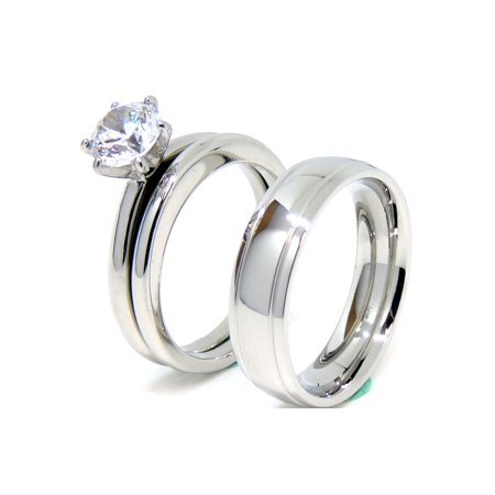 Matching Couple Ring Set Womens Solitaire CZ Wedding Ring Set Mens Dome Grooved Edge Band- Size W5M7
