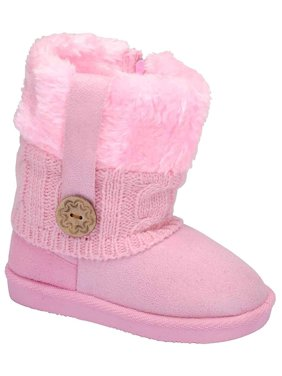 c8f3cc705a983 Product Image Pink Toddler s Fur Cuff Side Zipper Slip On Snow Ankle Bootie  Vegan - 5   Light