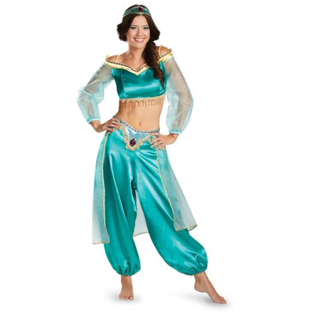 Disguise Women's Disney Aladdin Jasmine Sassy Prestige Costume, Green, Large 12-14 - Jasmine And Aladdin Costumes