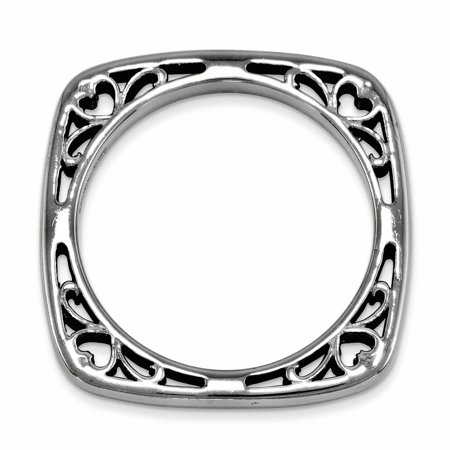 925 Sterling Silver Black Plated Square Band Ring Size 8.00 Stackable Fine Jewelry For Women Gifts For Her - image 2 of 7