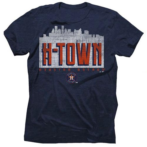 Houston Astros Majestic Threads Initial Skyline Premium Tri-Blend T-Shirt - Heathered Navy