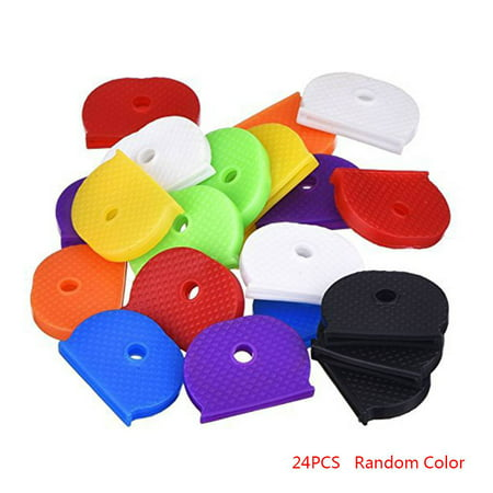 24pcs Universal Rubber Half Round Key Caps Solid Key Head Cover Shell Unisex Gift Random Color