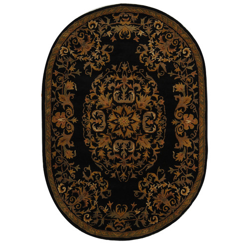 Astoria Grand Balthrop Hand-Tufted Wool Black/Gold/Brown Area Rug