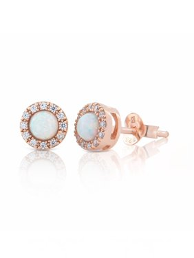 Sterling Silver 14K Gold Plated Halo Round Created Opal & Cubic Zirconia Gemstone Stud Earrings