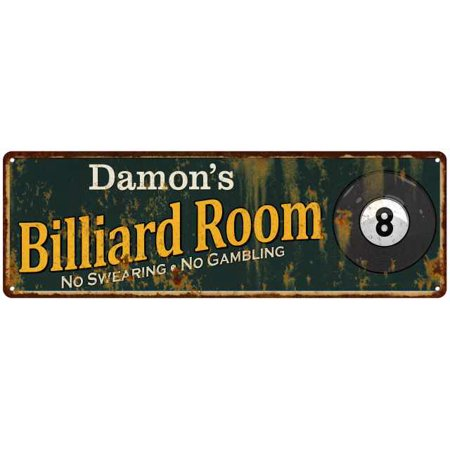 Damon's Billiard Room Green Personalized Sign Man Cave 8x24 108240009147