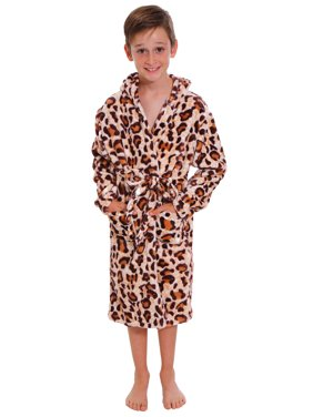 Simplicity Girl's Animal Print Bathrobe with Attached Hoodie & Single Belt, L