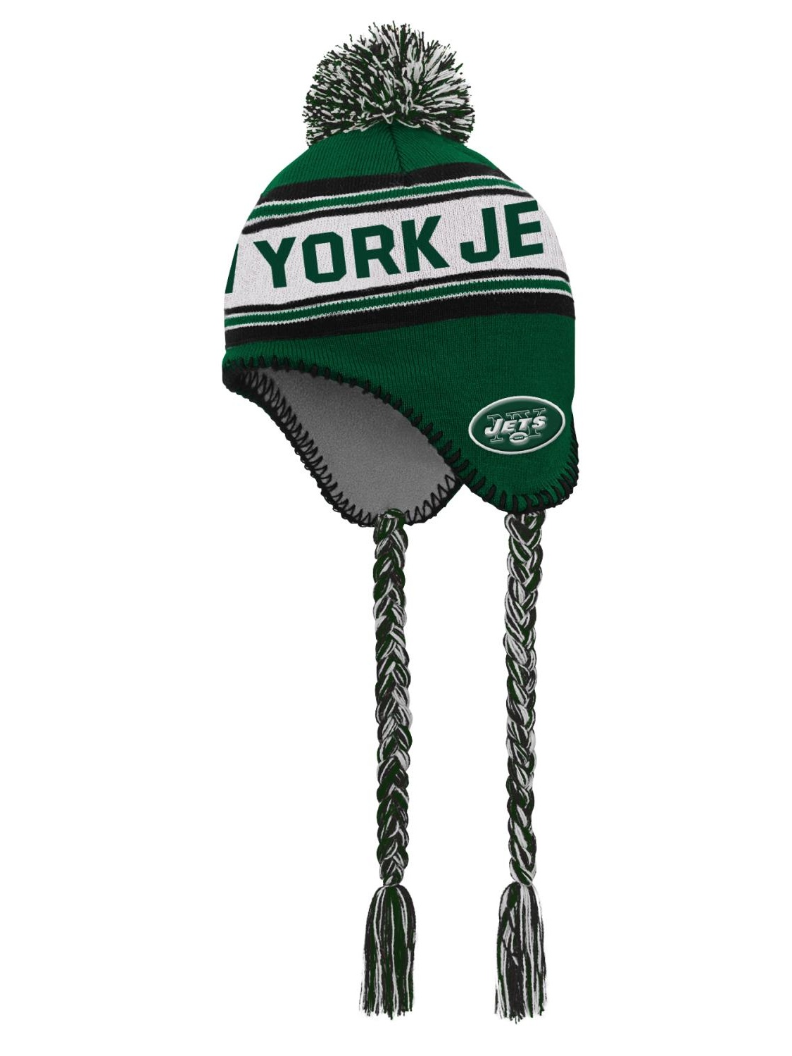 "New York Jets Youth NFL ""Striped Jacquard"" Tassel Knit Hat w  Pom by Outerstuff"