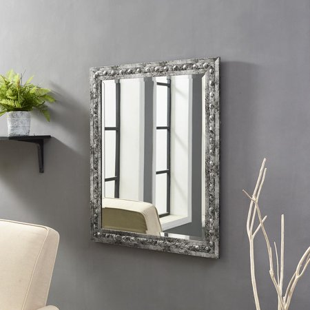 Classic Embossed Wall Mirror Pewter 32.6