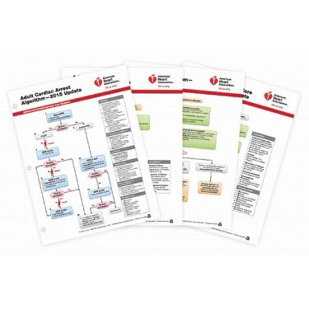 ACLS (Advanced Cardiovascular Life Support) Emergency Crash Cart Cards. Package of 4. Based on the 2015 AHA Guidelines for CPR and ECC
