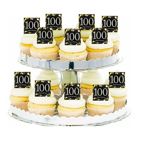 24pk Happy 100th Birthday Black & Gold Edible Cupcake Decoration Toppers / Picks](Black Cupcake Decorations)