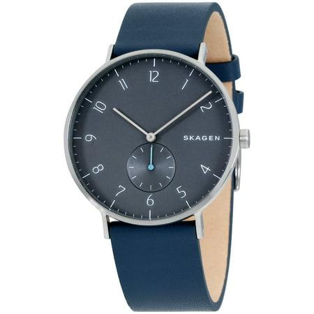 Skagen Aaren Blue Dial Leather Strap Men's Watch
