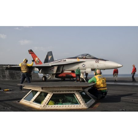 Persian Gulf October 30 2011   An Fa 18E Super Hornet Is Ready To Launch From The Flight Deck Of Uss George Hw Bush Poster Print