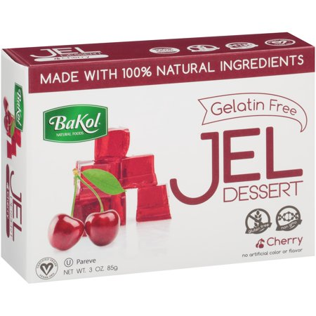 (3 Pack) BaKol® Gelatin Free Cherry Jel Dessert 3 oz. Box Non Animal Gelatin