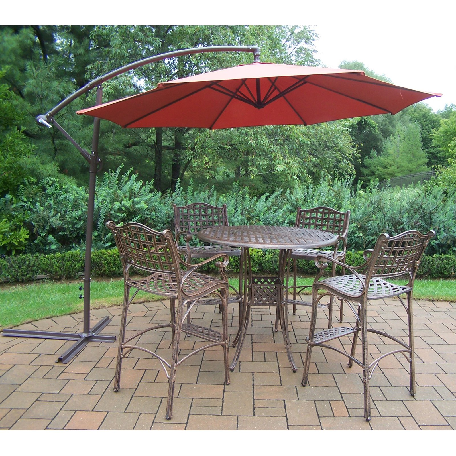 Oakland Living Elite Cast Aluminum 5 Piece Patio Bar Set With Cantilever  Umbrella
