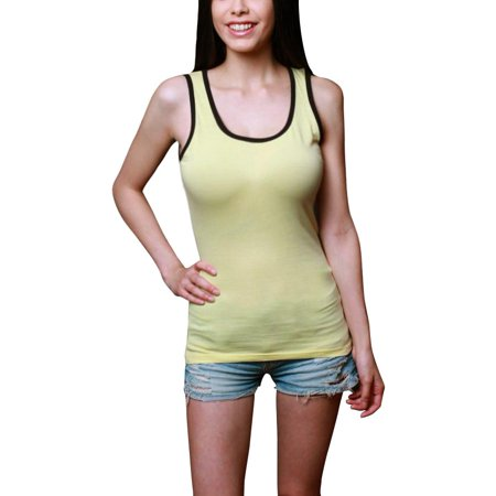 Women's Sleeveless Tee Shirts with Contrast Binding Classic Soft Workout Tank Top