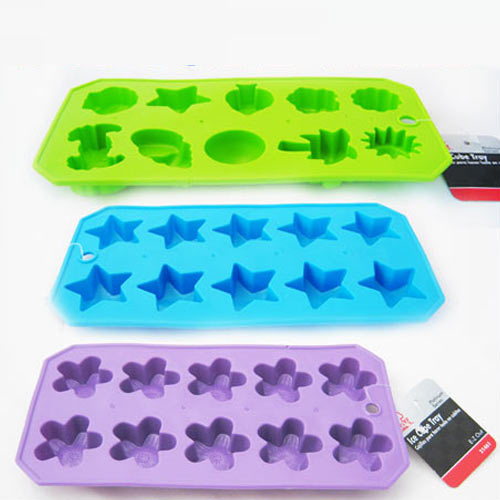 3 Silicone Ice Tray Star Shaped Cube Maker Jelly Chocolate Cake Mold Party New !