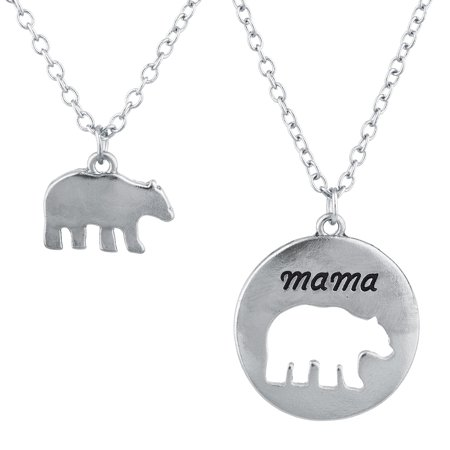 Lux Accessories Silver Tone Mama Bear Mother Daughter Charm Pendant Necklace - Mother Daughter Necklaces