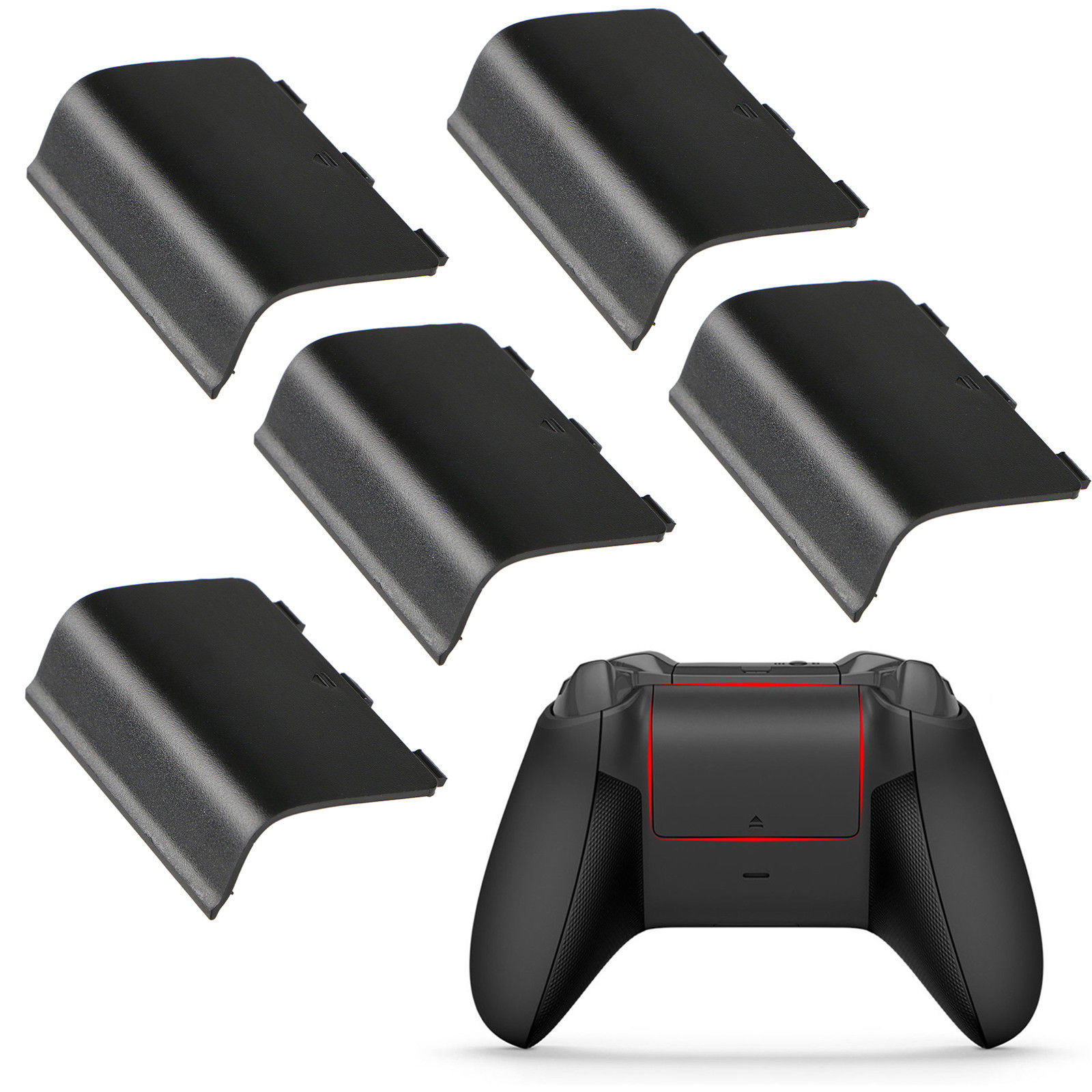 5-pack Replacement Battery Back Door Shell Cover for Xbox One Wireless Controller (Black)