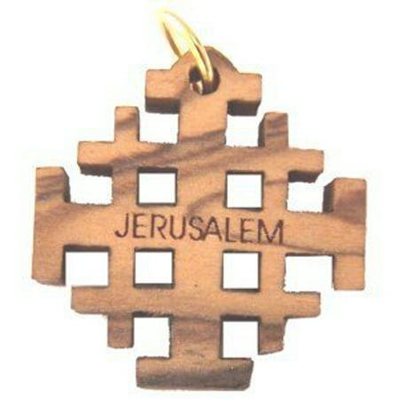 Bannouras Olive Wood - Olive wood Jerusalem Cross Laser Pendant (6cm or 2.36