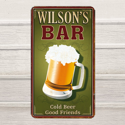 """Personalized 8"""" x 14"""" """"Bar"""" Metal Sign"""