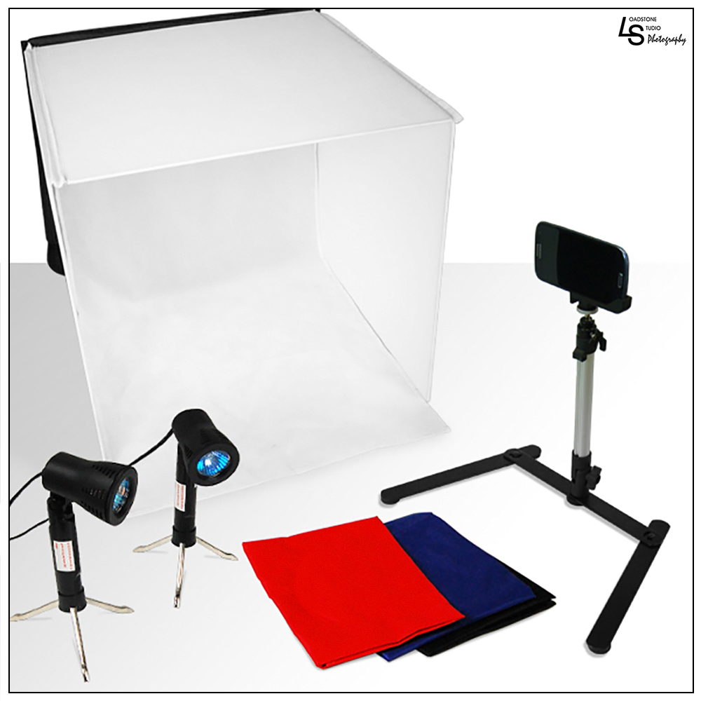 "Loadstone Studio Photography Table Top Photo Light Tent Kit, 24"" Photo Light Box, Continous Lighting Kit, Camera Tripod & Cell Phone Holder WMLS1421"