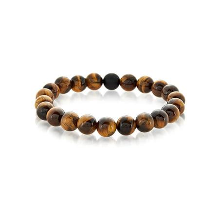 Tiger's Eye and Black Matte Onyx Bead Stretch Bracelet - Onyx Quartz Bracelet