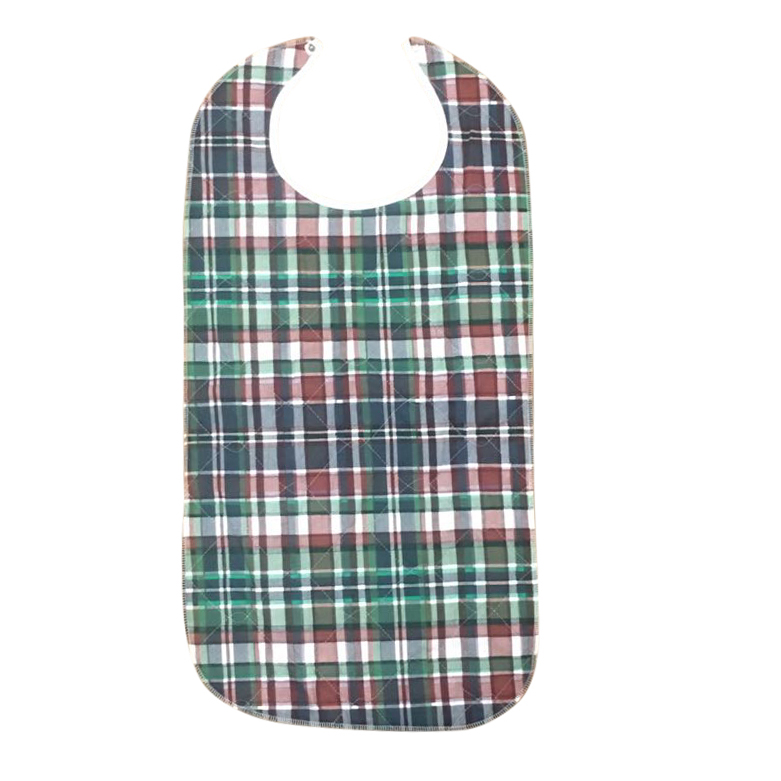 Adult Bib With Waterproof Vinyl Backing Washable 17x34 Green Plaid (Snap Closure) Made in USA (2 Pcs)
