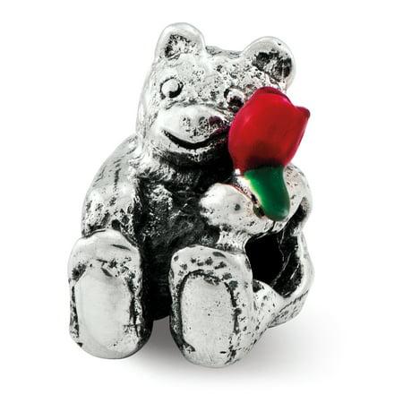 Enamel Sterling Silver Flower Beads - Lex & Lu Sterling Silver Reflections Kids Bear with Enameled Flower Bead
