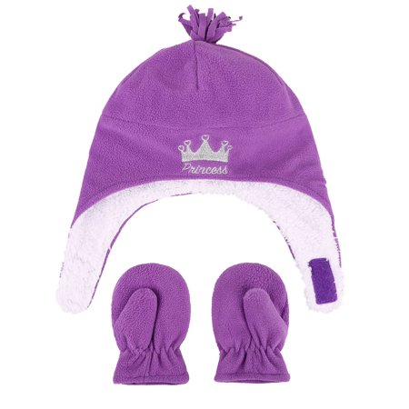 Kids Girls Sherps Lined Embroidered Fleece Hat Mitten