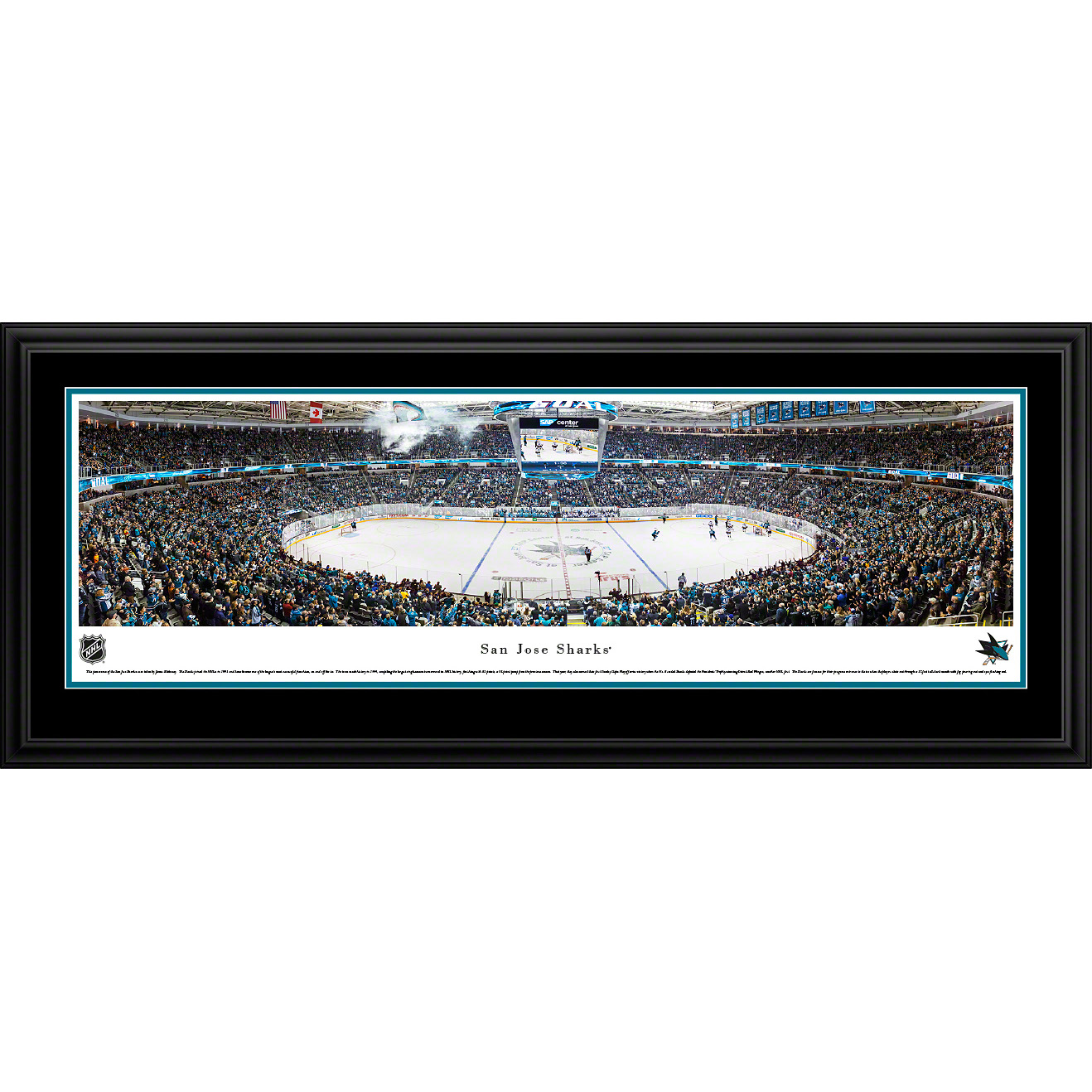 "San Jose Sharks 18"" x 44"" Deluxe Framed Panoramic - No Size"