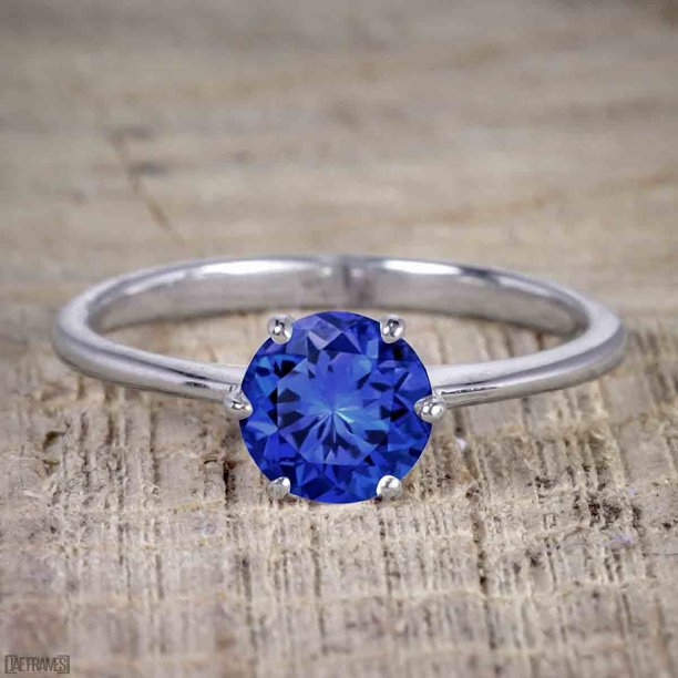 Unique 1 Carat Round Cut Real Sapphire and Moissanite Engagement Ring in 18k Gold Over Silver