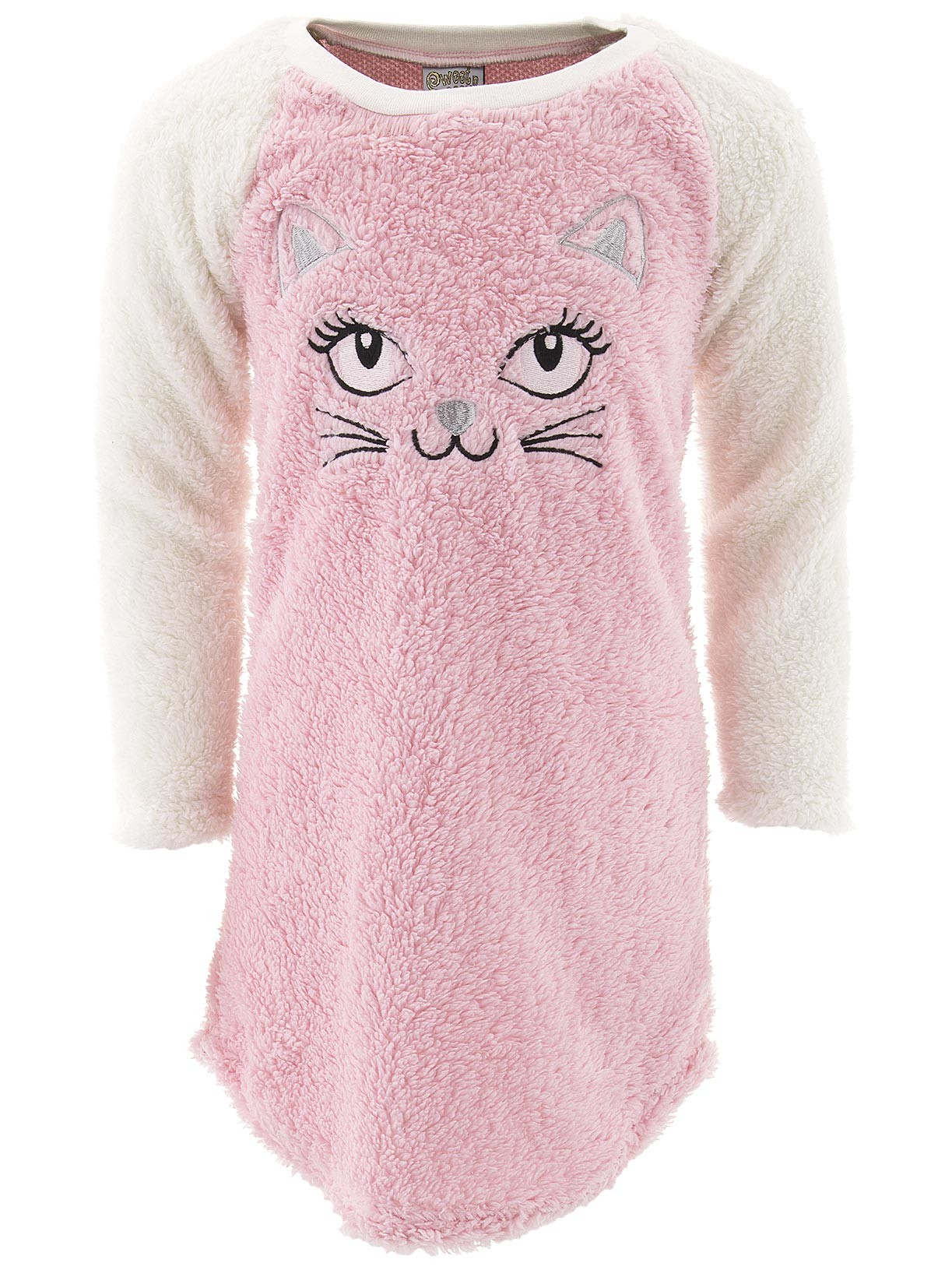 Sweet N Sassy Girls Cat Pink Sherpa Nightgown for Girls