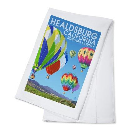 Healdsburg  California   Sonoma County   Hot Air Balloons   Lantern Press Artwork  100  Cotton Kitchen Towel