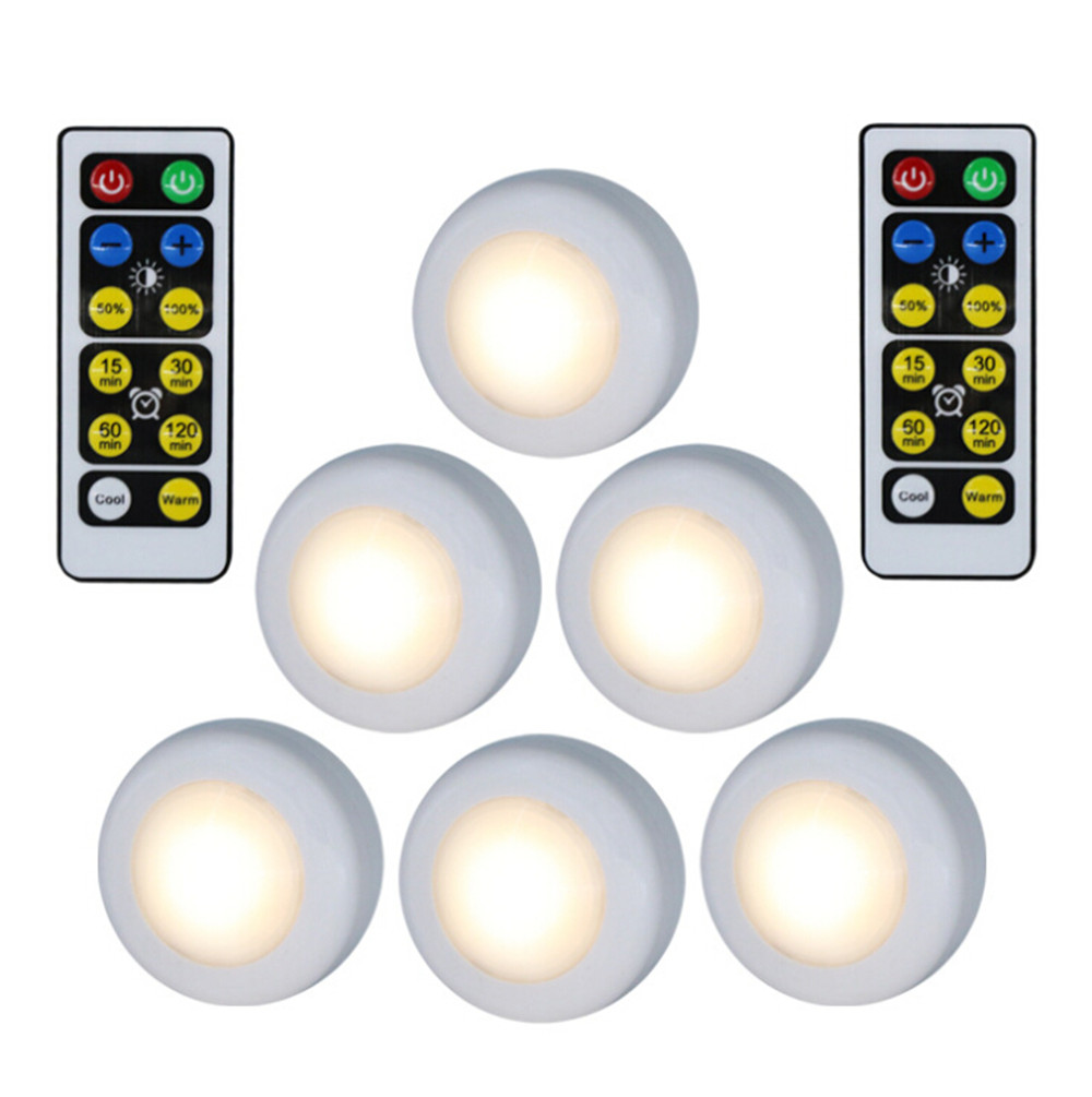 6Pcs Wireless LED Puck Lights Closet Under Cabinet Lighting With Remote Control