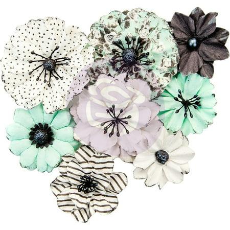 Flirty Fleur Mulberry Paper Flowers 8/Pkg-Grey & Mint