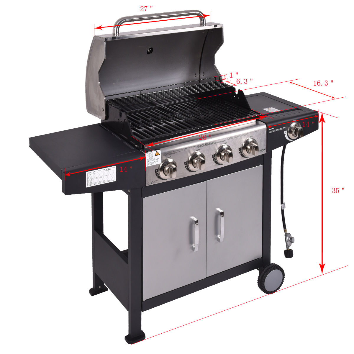 Costway 4 Burner Gas Porpane Grill Stainless Steel Outdoor Patio Cooking BBQ w/ Casters - image 5 of 9