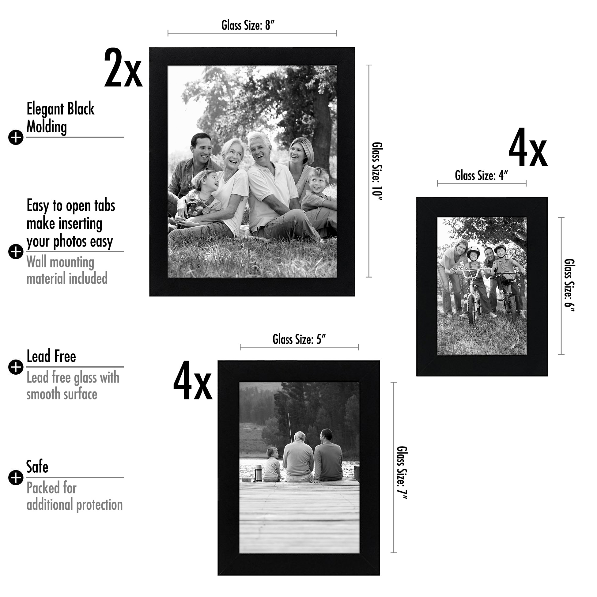 Americanflat 10-Piece Multi Pack Black Frames; Includes Two 8x10 ...