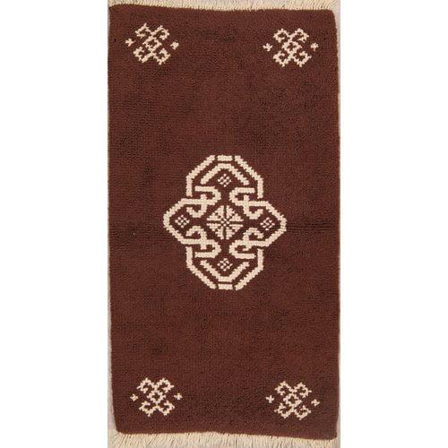 Bloomsbury Market Jamerson Rya Oriental Hand-Knotted Wool Brown/White Area Rug