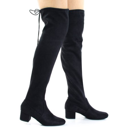 Jupiter by Soda, Top Tie, Over The Knee, Thigh High, Block High Heel Pull On Slouch Boots