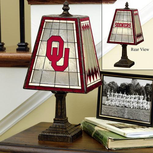 NCAA 14inch Art Glass Table Lamp - Oklahoma Sooners, Oklahoma Sooners