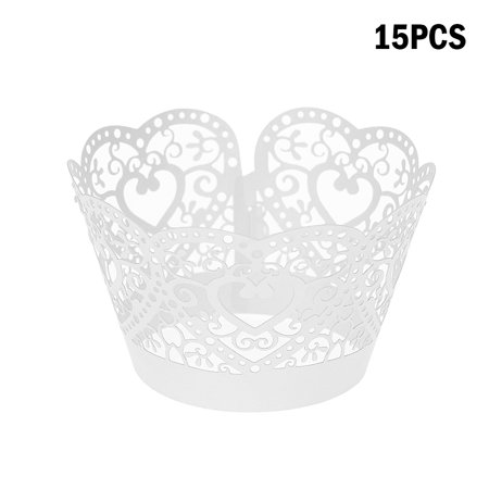 Lace Cupcake Liners (15pcs/set Paper Cupcake Wrappers Laser Cut Lace Cake Cup Liners Trays Baking Decorations)