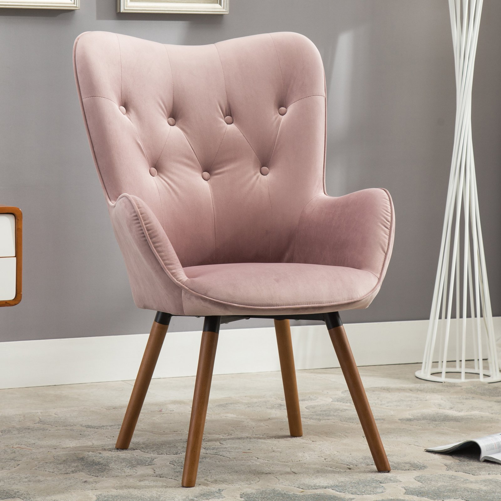 Roundhill Furniture Doarnin Contemporary Silky Velvet Tufted Button Back Accent Chair, Mauve by Roundhill Furniture