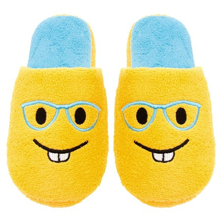 Chatties Ladies Terry Cloth Slip On Embroidered Novelty, Bedroom Slippers, 5/6, Bucktooth Glasses](The Glass Slipper Boston)