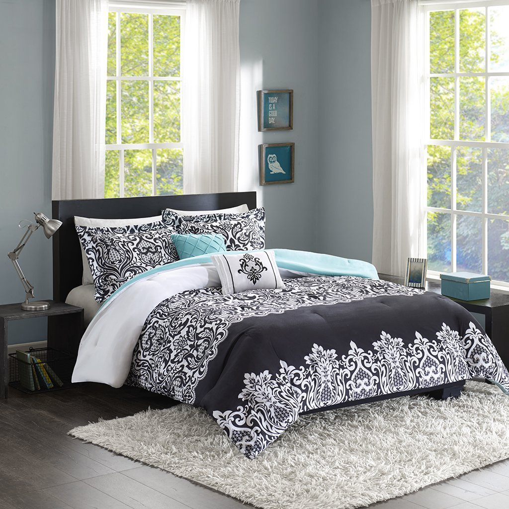 Leona Comforter Set Black/Aqua King/Cal King, For a modern update