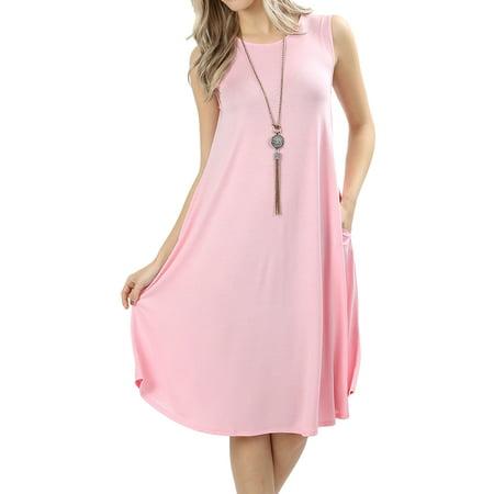 Womens Sleeveless Round Neck Knee Length Tunic Swing Dress](Knee Length Flapper Dress)