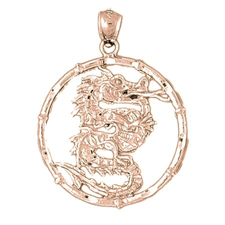 14K Rose Gold Chinese Zodiacs - Dragon Pendant - 37 mm