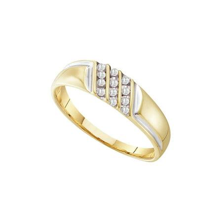 10kt Yellow Gold Mens Round Channel-set Diamond Diagonal Triple Row Wedding Band 1/8 (Diamond Mens Channel Band)