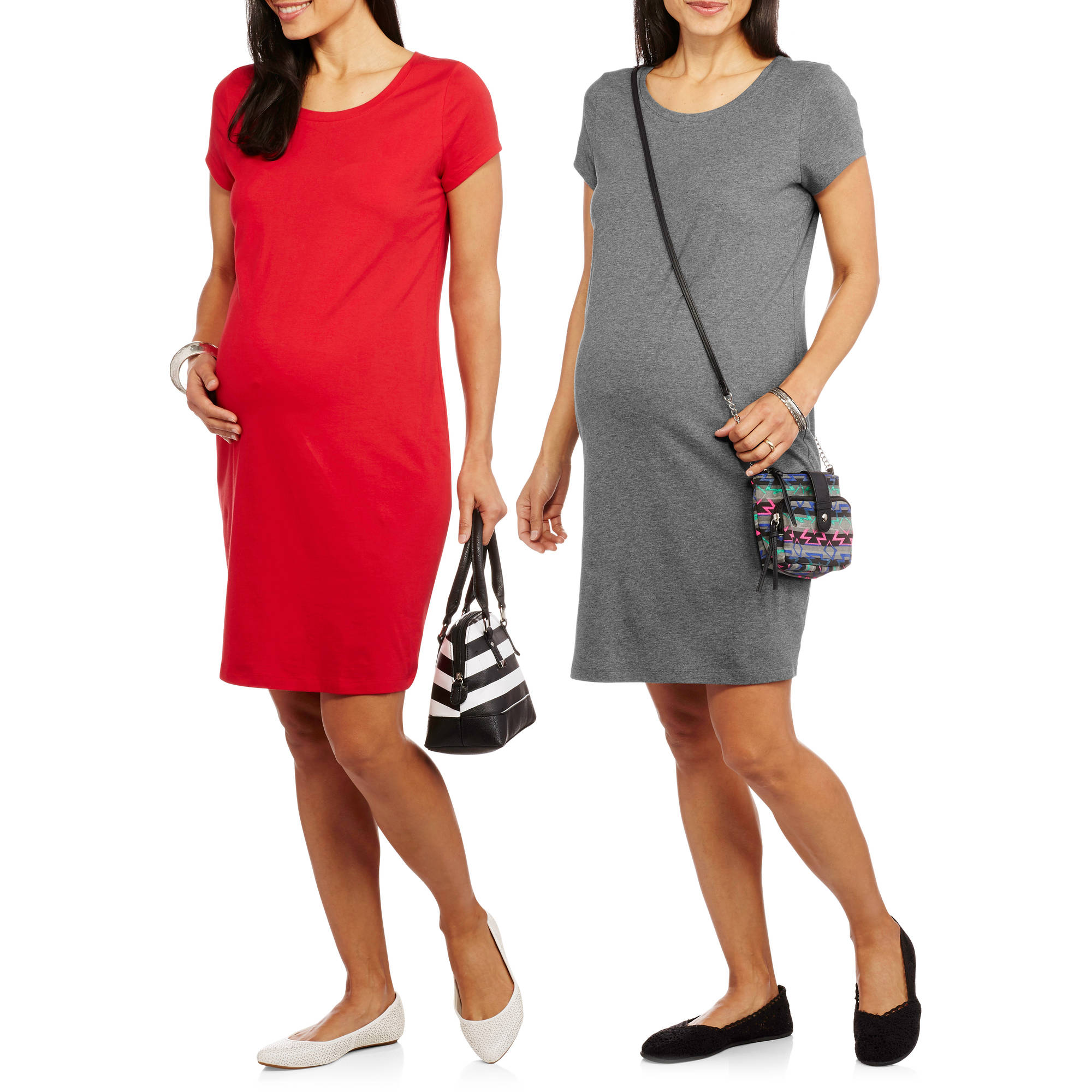 Faded Glory Maternity Basic T-Shirt Dress, 2-Pack